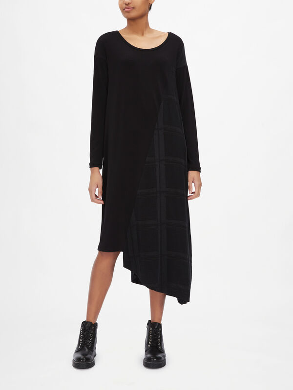 Mixed Fabric Asymmetrical Dress
