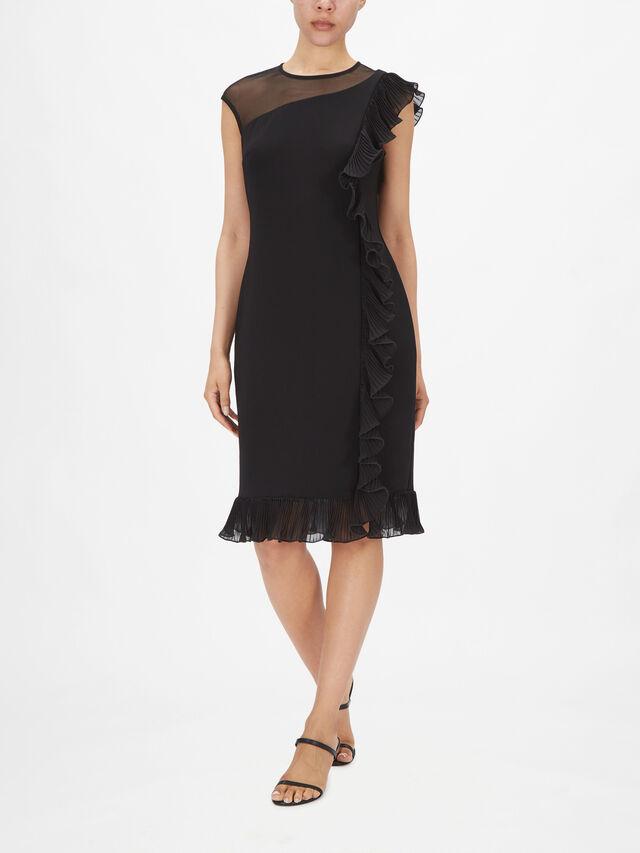 Sleeveless Ruffle Detail Fitted Dress