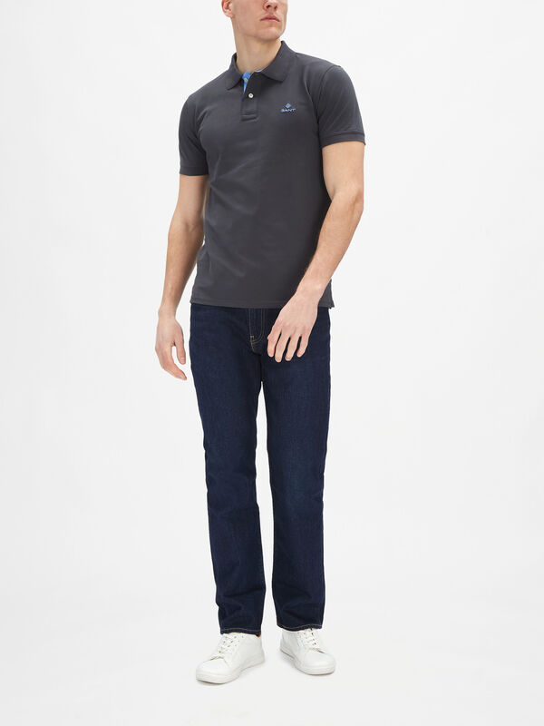 Contrast Collar Pique Rugger Polo Shirt