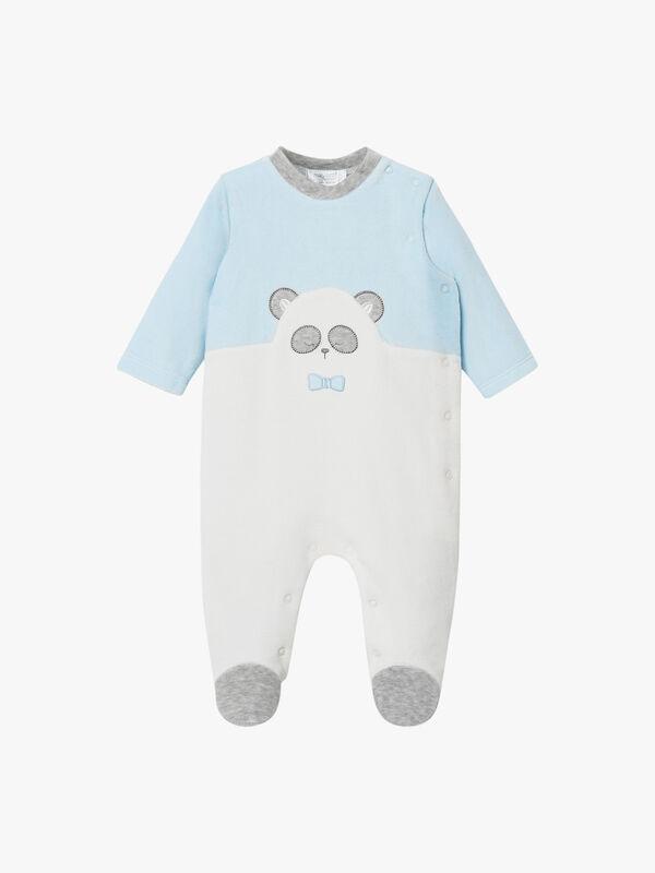 Velour Panda Face Babygrow