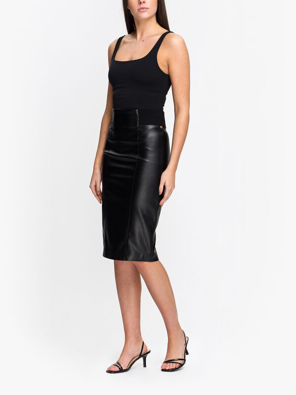 Crusca Faux Leather Skirt