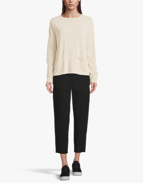 Button Front Tapered Cropped Trouser