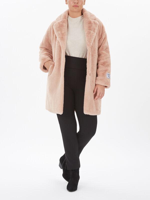 Faux Fur 3/4 Popper Coat