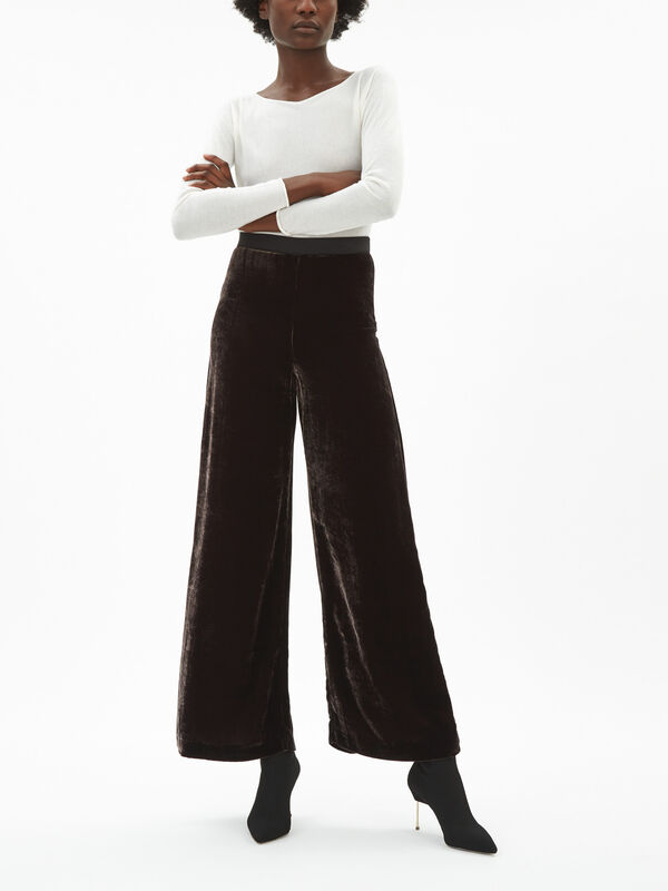 Velvet Palazzo Trouser With Seam Detail