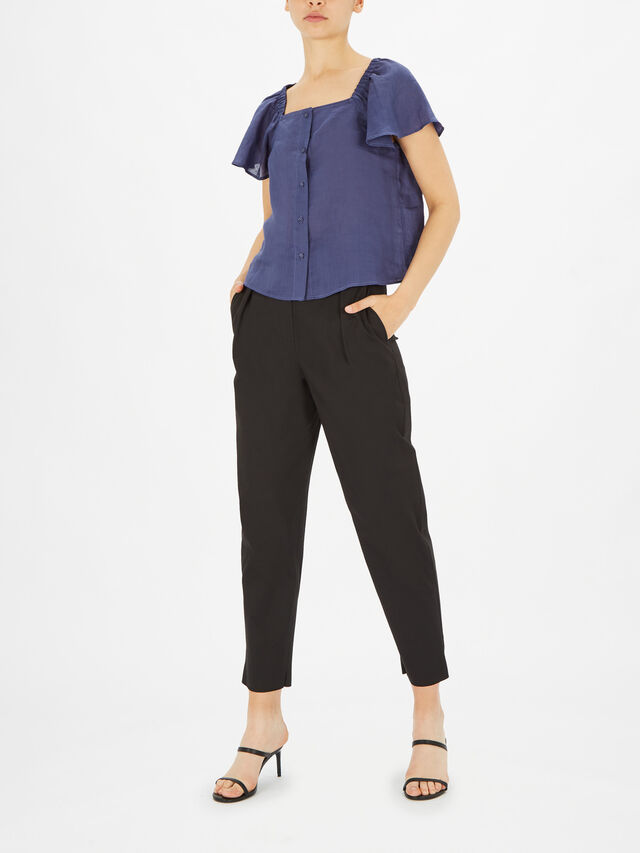Suffisso Square Neck Short Sleeve Blouse