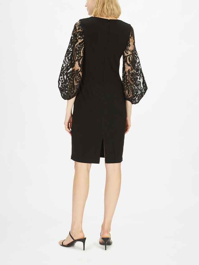 Mesh and Sequin Sleeve Dress
