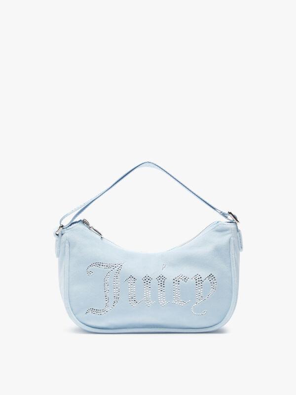 Darcie Velour Shoulder Bag with Diamante Branding