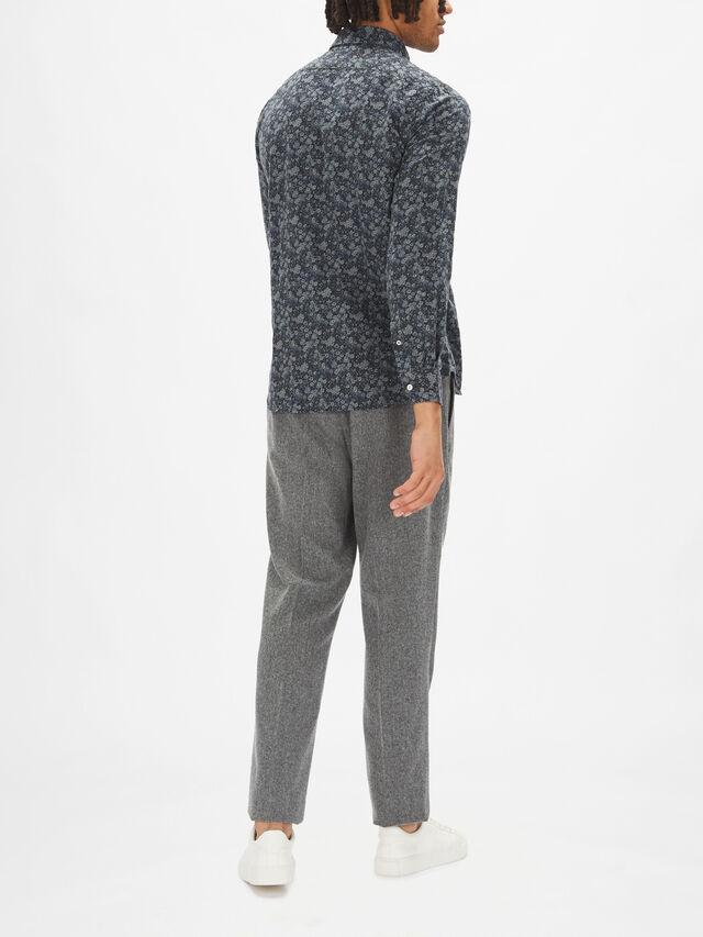 Slim Floral Flannel Shirt