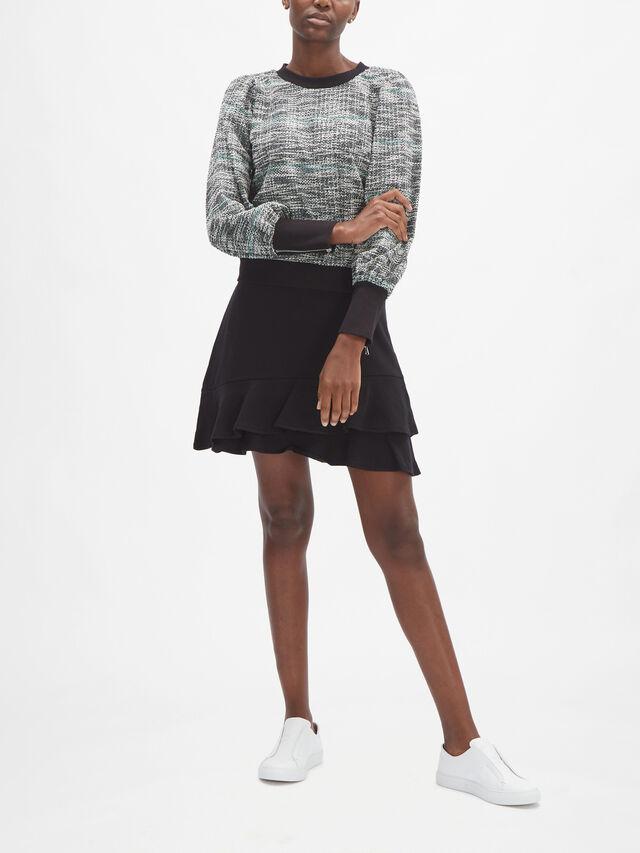 Puff Sleeve Tweed Sweatshirt