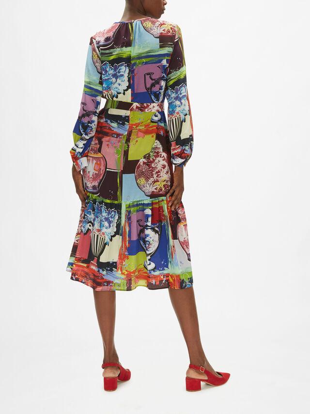 Cassino Printed Silk Midi Dress