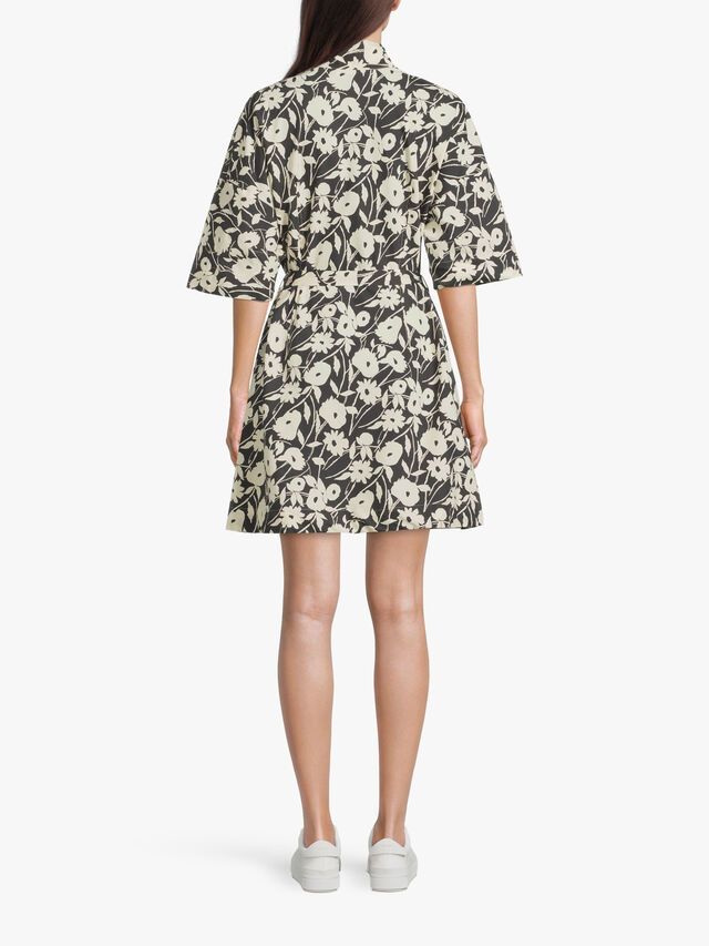 Flower Print Short Cotton Shirt Dress