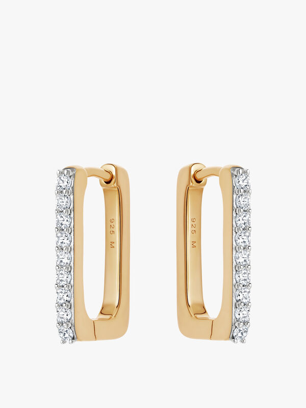 Gold Pave Ovate Hoops