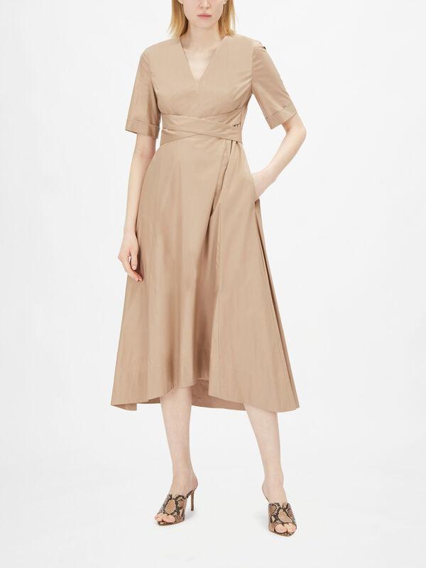 V Neck Cotton Poplin Midi Dress With Wrap Belt