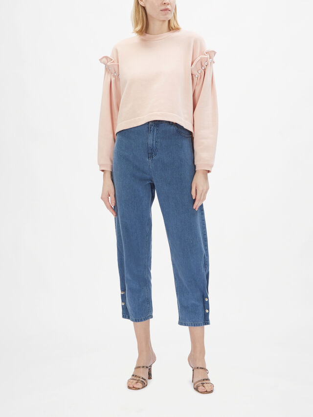 Cropped Jumper With Pearl Shoulder