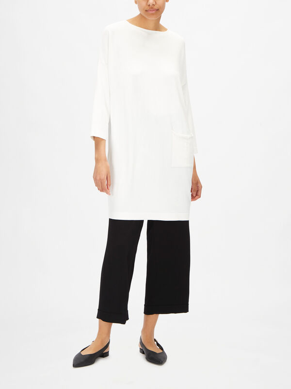 Long Sleeve Viscose Tunic with Side Patch Pocket