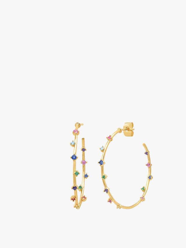 Multicolour Stone Hoop Earrings
