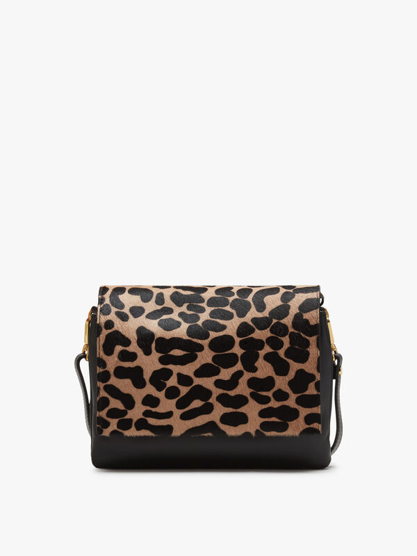 Three Compartment Leopard Flap Top Crossbody