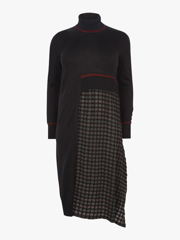 Small Tartan Panel Long Dress