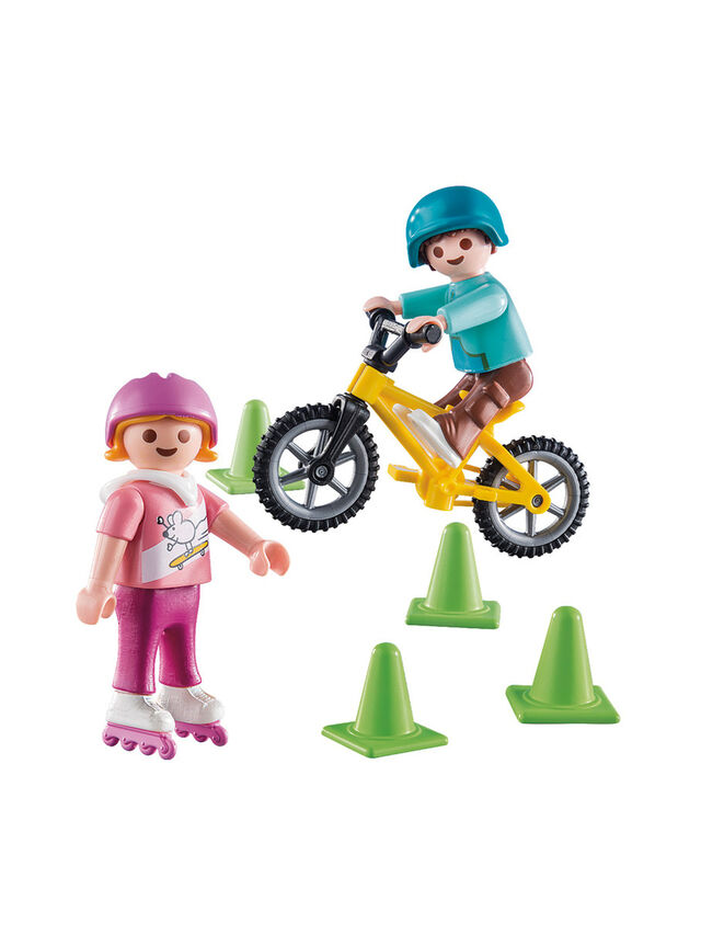 Special Plus Children with Bike and Skates