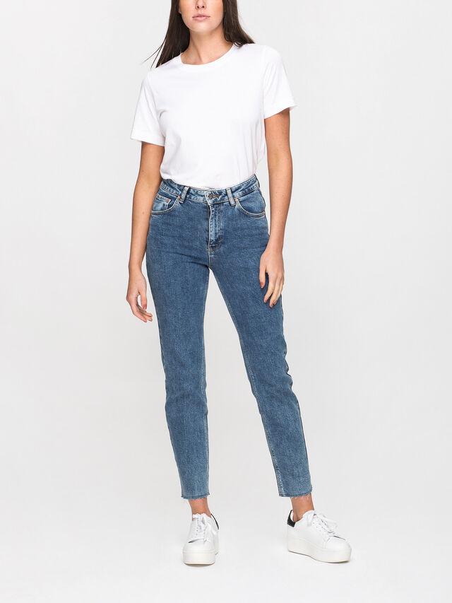 Girlfriend Fit Fray Hem Jeans