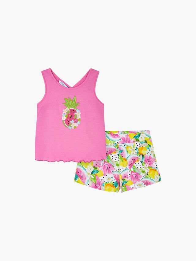 Fruit Embroidered Top & Print Shorts Set
