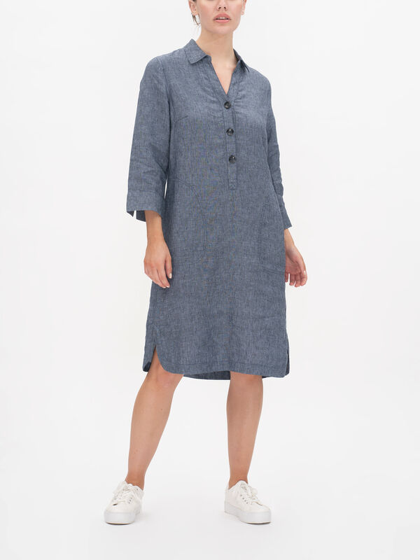 Crop Sleeve V Neck Front Button Fastening Dress