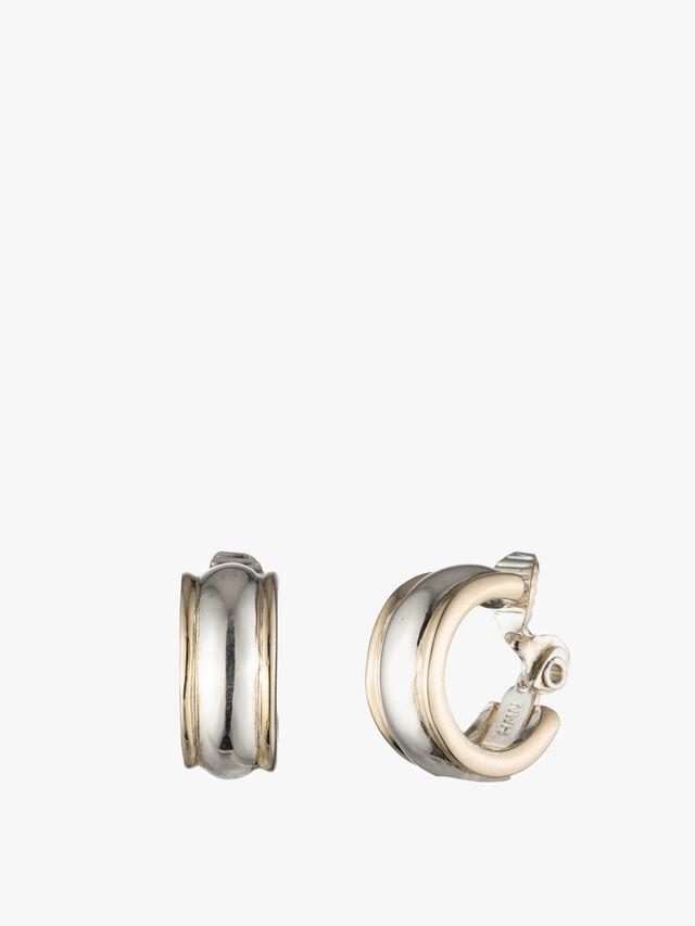 Two Tone Small Statement Hoop Earrings