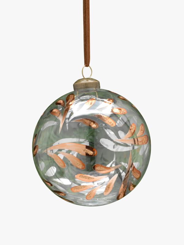 Christmas Bauble With Metallic Leaves