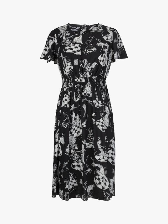 Novelty Print Cap Sleeve Midi Dress