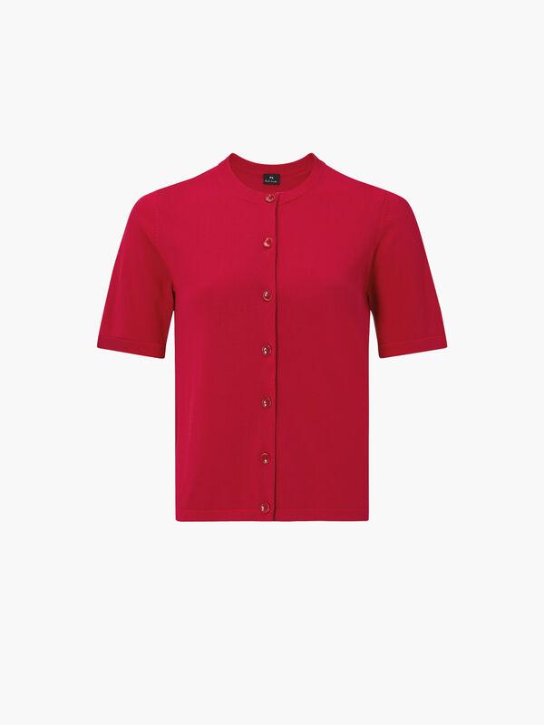 Short Sleeve Button Knit