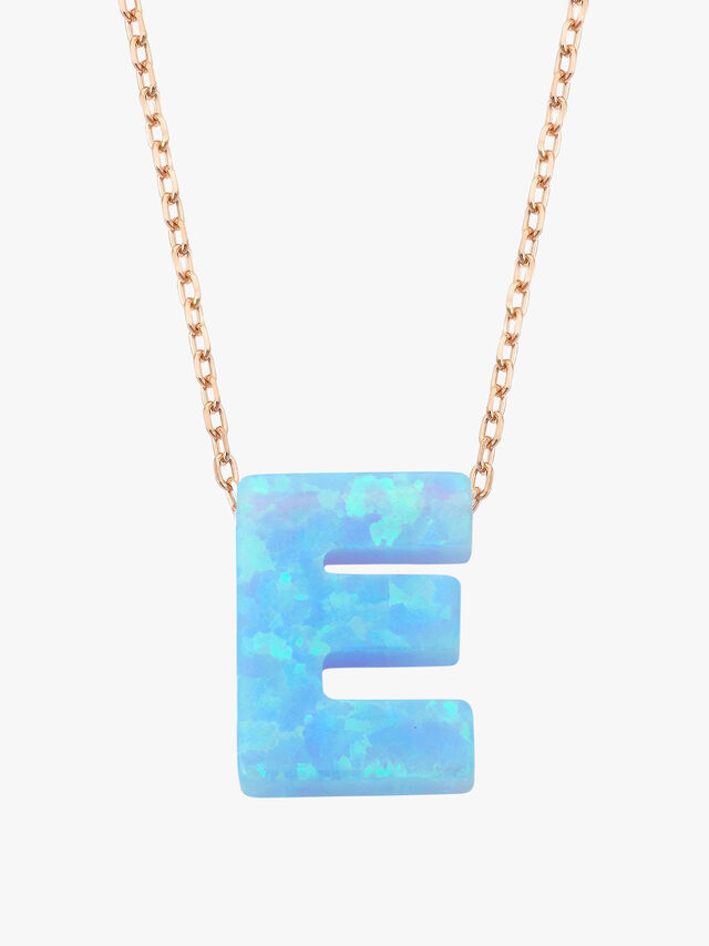 Rose-Gold Opal Letter Necklace