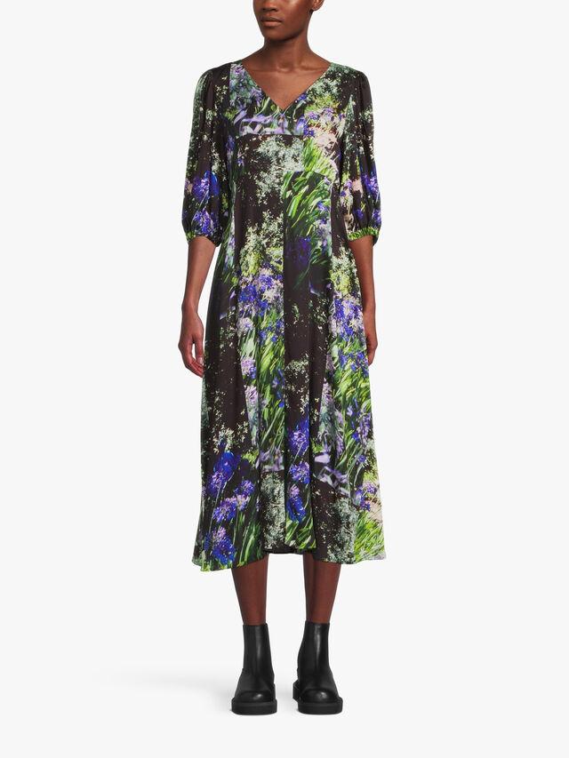 V Neck Front Slit Midi Dress