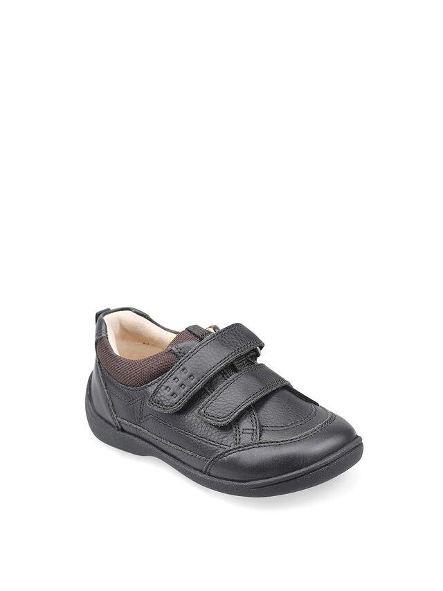 Zigzag Black Leather Pre School Shoes