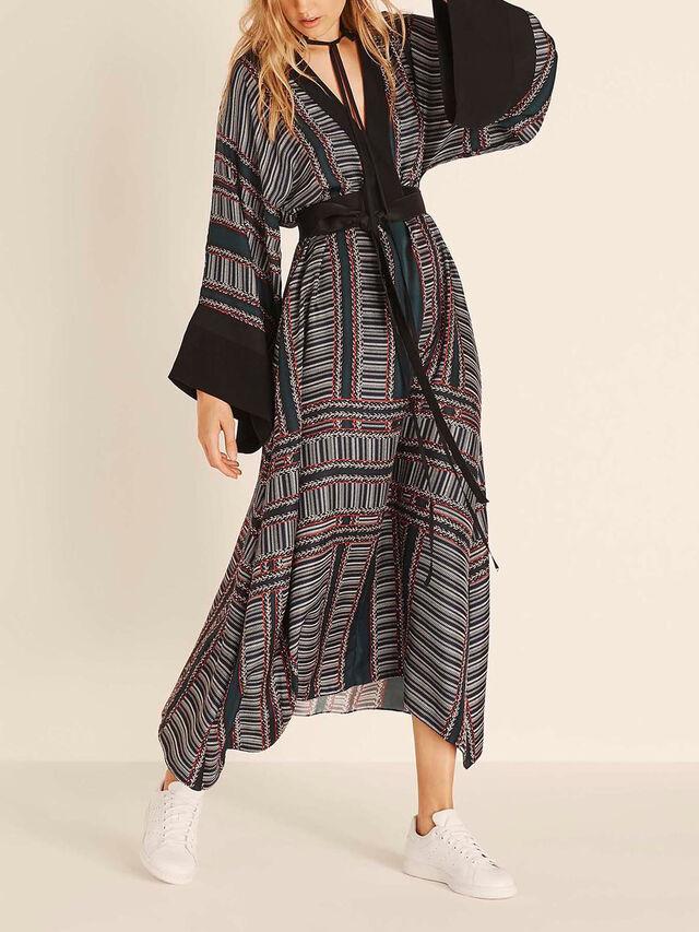 Textured Stripe Print Tie Neck Dress