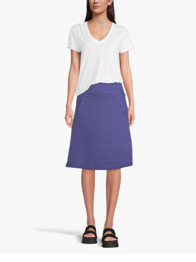 Saphira Knee Length A Line Linen Skirt