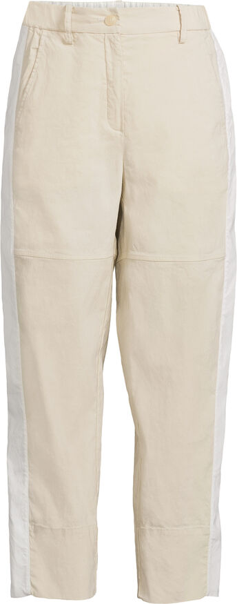Button Front Cropped Wide Leg Linen Trouser