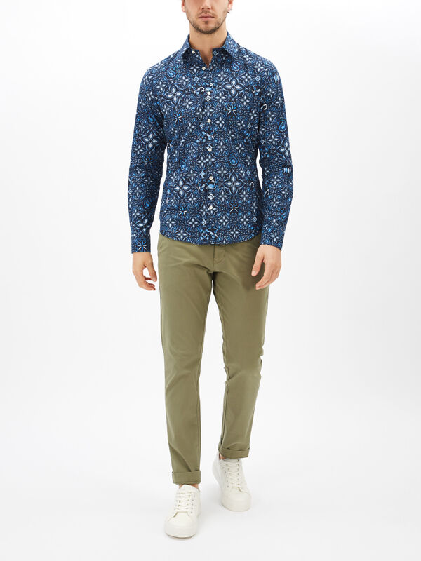 Slim Fit Tile Print Shirt