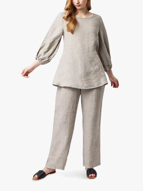Puff Sleeve Linen Blouse