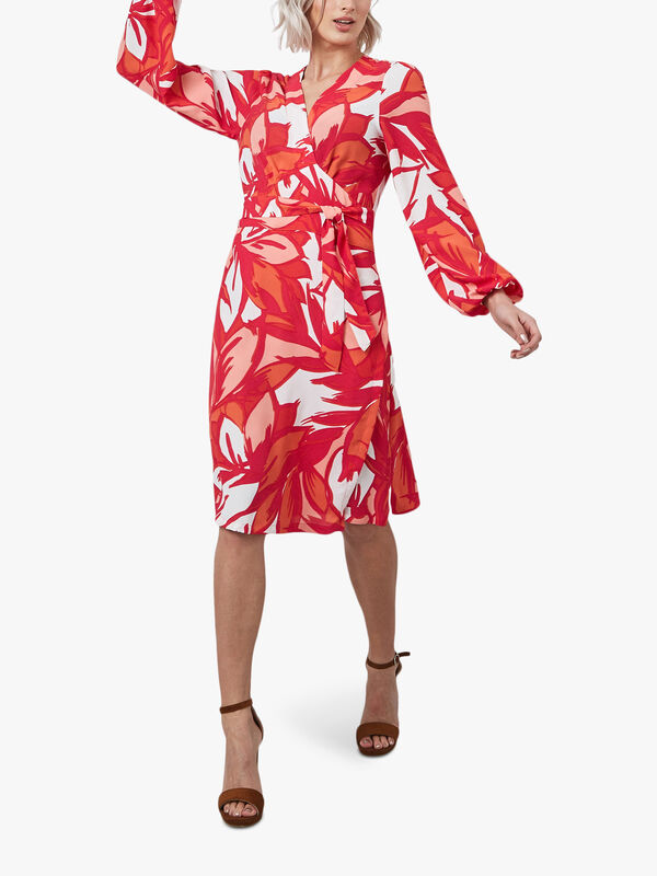 Floral Puff Sleeve Wrap Dress
