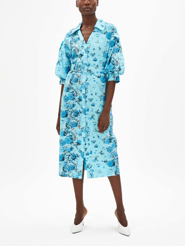 Printed Cotton Shirt Dress