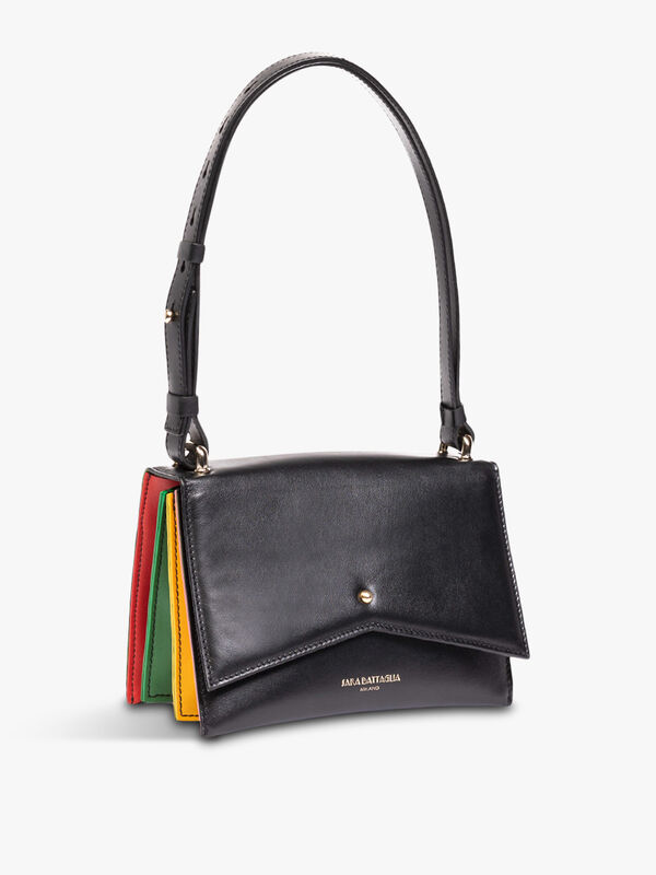 Delphine Mini Black Rainbow Shoulder Bag