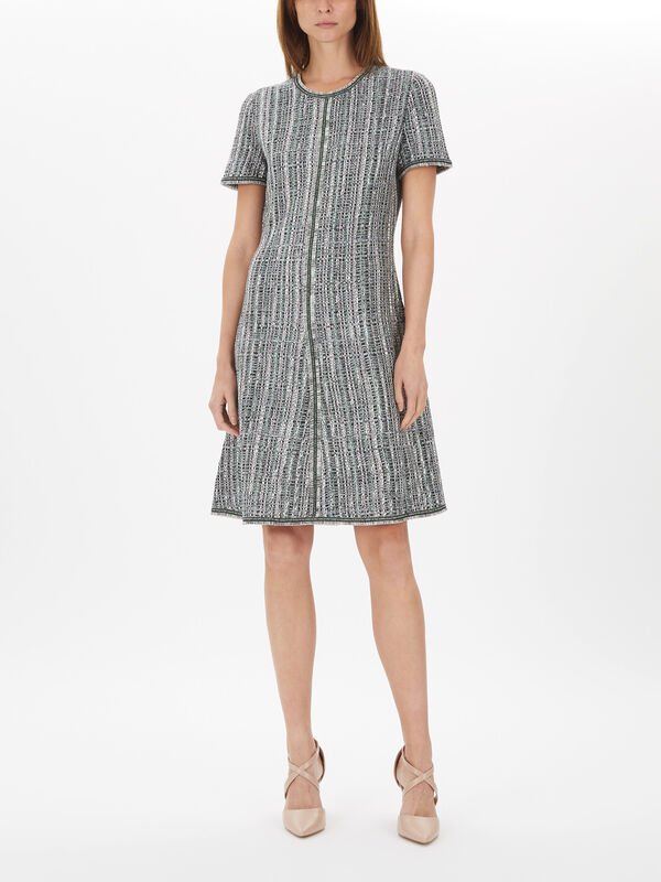 Ribbon Textured Inlay Knit Dress