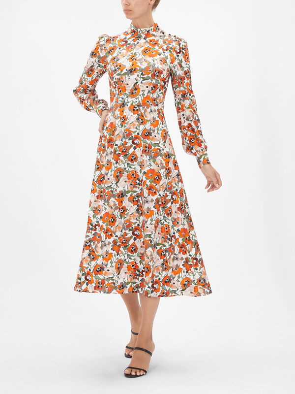 Poppy Print High Neck Midi Dress