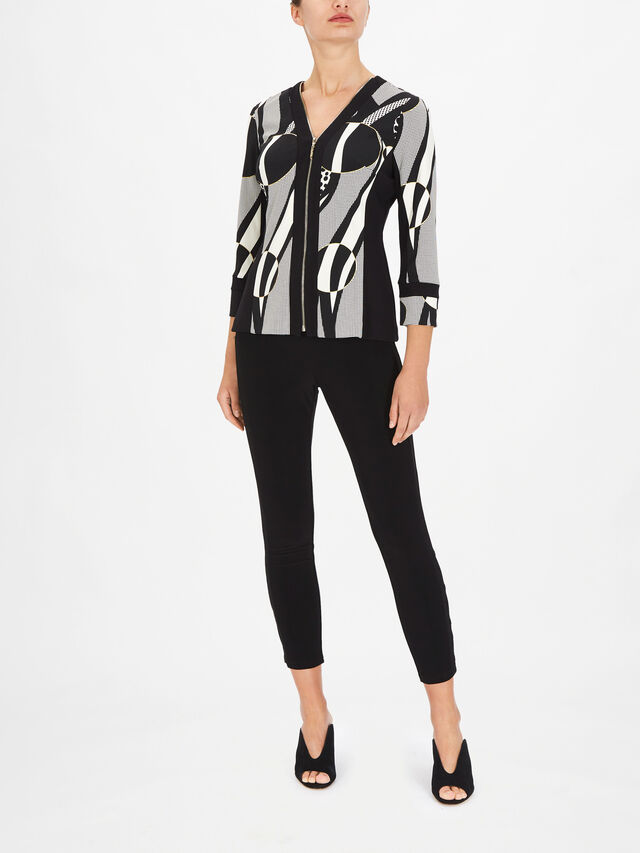 Circle Print Vest and Zip Up Long Sleeve Top Two Peice