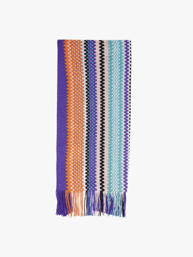 Colourblock Zig Zag Stripe Scarf with fringe
