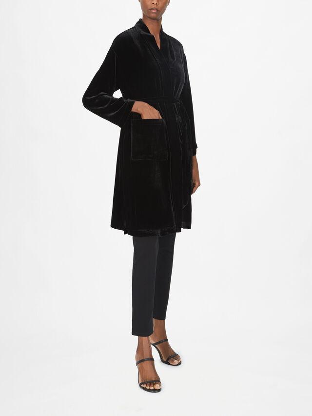 Velvet High Collar Jacket With Belt