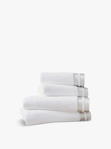 Mode-Hand-Towel,-White-and-Silver-Christy