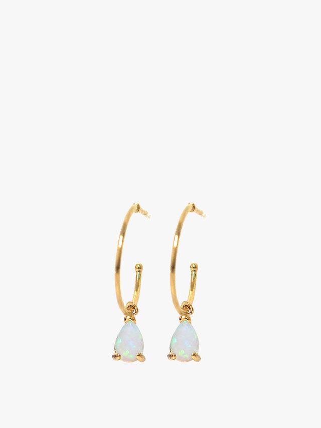 Opal Teardrop Charm Hoops