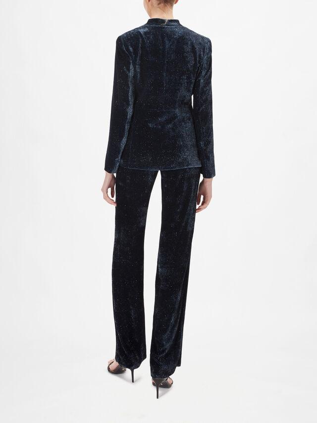 Pagine Glittery Velvet V Neck Jacket