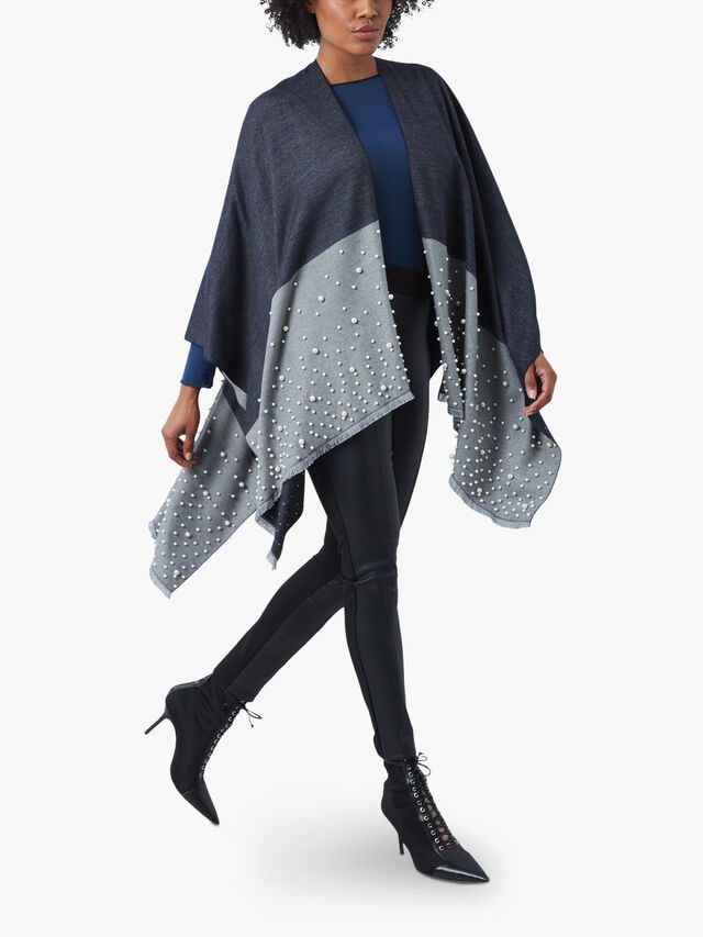 Pearl Colour Black Poncho